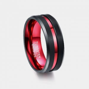 8mm Black with Single Red Stripe Custom Tungsten Rings Thumb
