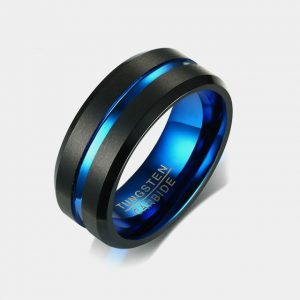 8mm Tungsten Double Black Stripe Blue Centre Groove Blue Lining