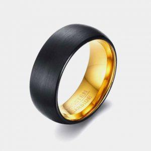 Tungsten 8mm Black Brushed Wedding Engagement Friendship Ring Thumb