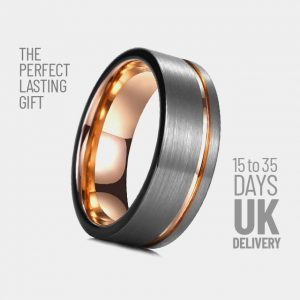 Mens 8mm Tungsten Brushed Silver Rose Gold Stripe Lining 15 35