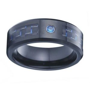 mens 8mm black tungsten ring with blue cz stone and carbon fiber inlaid