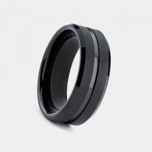 Mens 8mm Black Tungsten Ring with Single Stripe customtungstenrings.co.uk Thumb
