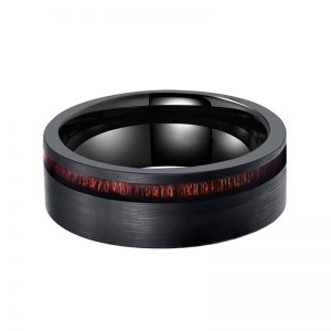 Black Brushed Tungsten Ring with Koa Wood Inlay