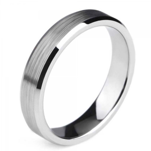 Silver Brushed Finish Tungsten Ring