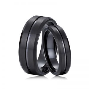 8mm & 6mm Couples Black Tungsten Ring