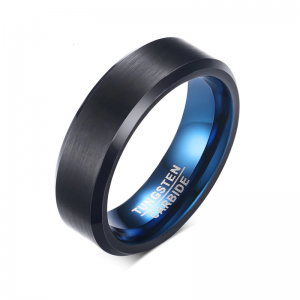 Black Brushed Effect Tungsten Rings 2