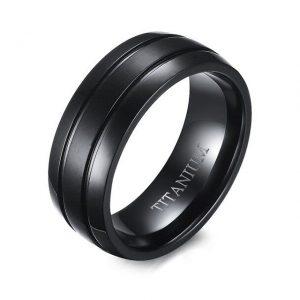 Mens Black Titanium 8mm Ring Matte Finish from Custom Tungsten Rings