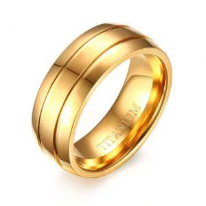 Mens Gold Titanium 8mm Ring Matte Finish from Custom Tungsten Rings