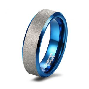 6mm Blue with Silver Frosted Band Custom Tungsten Rings