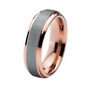 6mm Rose Gold with Silver Brushed Effect Custom Tungsten Ring
