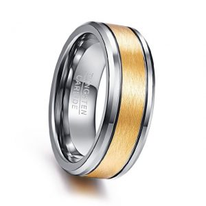 8mm Custom Tungsten Ring Brushed Gold Center with Silver Side Grooves and Beveled Edges