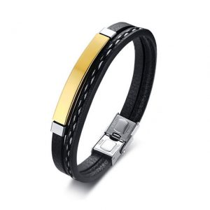 Blank Gold Unisex Stainless Steel Multilayer PU Leather Bracelet from Custom Tungsten Rings