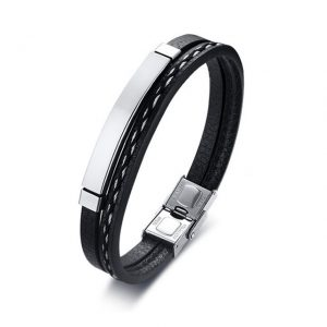 Blank Silver Unisex Stainless Steel Multilayer PU Leather Bracelet from Custom Tungsten Rings