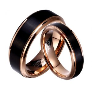 Couples Black & Rose Gold Tungsten Rings 8mm & 6mm