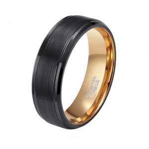 Custom Tungsten Rings 8mm Black Brushed Tungsten Ring with Polished Edges and Gold Lining