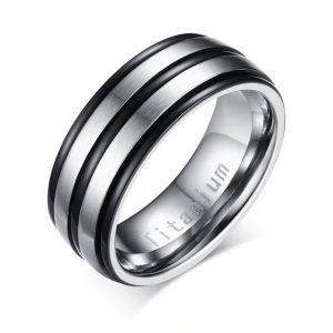Custom Tungsten Rings Black Silver Titanium Carbide 8mm Wedding Ring