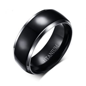 Custom Tungsten Rings Black Titanium Silver Trim 8mm Mens Ring