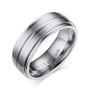 Custom Tungsten Rings Silver Titanium Carbide 8mm Wedding Ring