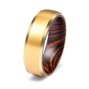 Gold Custom Tungsten Ring with Beveled Edges & Inner African Wenge Wood Sleeve