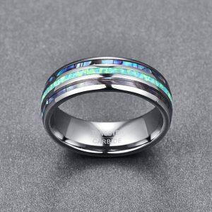 Men's 8mm Abalone Shell Triple Grooved Custom Tungsten Ring 2