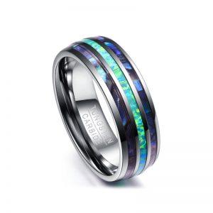 Men's 8mm Abalone Shell Triple Grooved Custom Tungsten Ring