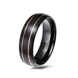 Men's Black Domed Tungsten Ring with Double Gold Line 8mm Width from Custom Tungsten Rings
