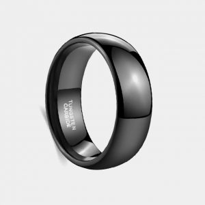 Tungsten 8mm Black Polished Dome Ring customtungstenrings.co.uk
