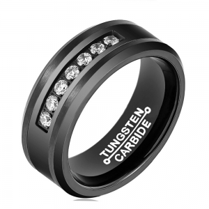 8mm Black Inlaid With CZ Stones Tungsten Carbide Ring 1