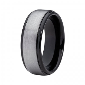8MM Brushed Silver Effect Black Lining Tungsten Ring With Stepped Edges