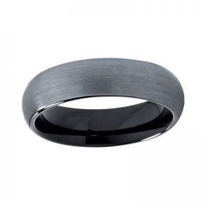 6mm Silver Domed Brushed Tungsten Ring With Black Lining Custom tungsten rings
