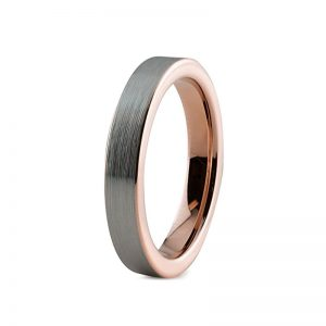 4mm Brushed Silver Finish With Rose Gold Lining Tungsten Ring