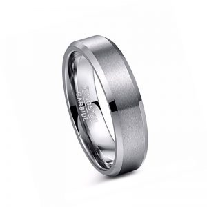 6mm Silver Brushed Matte Finish Bevelled Edged Tungsten Ring from Custom Tungsten Rings