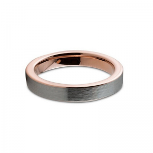 4mm Brushed Silver Finish  With Rose Gold Lining Tungsten Ring 1