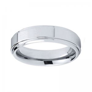 Classic 6mm Polished Tungsten Ring With Step Bevelled Edges 1