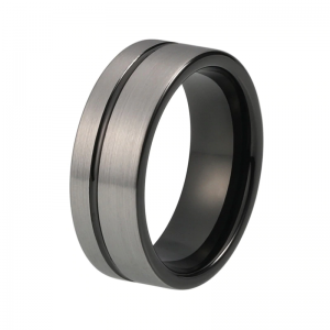 8mm Brushed Silver Effect Tungsten Ring With Offset Groove Custom tungsten rings