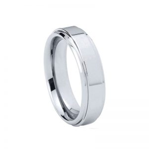 Classic 6mm Polished Tungsten Ring With Step Bevelled Edges