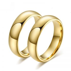 Matching 6mm Couples Gold Tungsten Wedding Rings from Custom Tungsten Rings