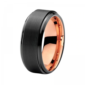 Black Brushed Effect with Rose Gold Lining Tungsten Carbide Ring Custom tungsten rings