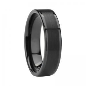 6mm Black Tungsten Wedding Ring With Brushed & Polished Finish