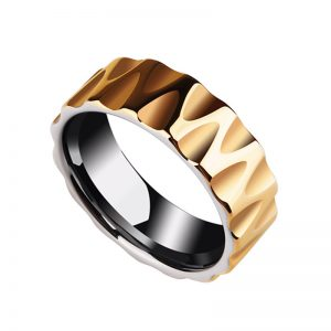 8mm Wave Facet Cut Polished Gold Plated Tungsten Carbide Ring from Custom Tungsten Rings