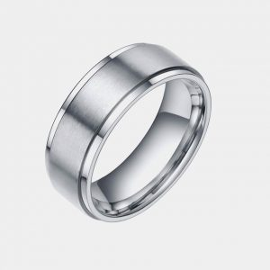 Tungsten 8mm Silver Polished Stepped Edge Brushed Centre Thumb