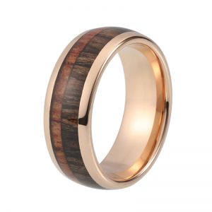 Rose Gold Tungsten Ring With Double Wood Inlay