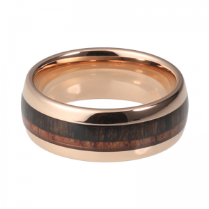 Rose Gold Tungsten Ring With Double Wood Inlay 2