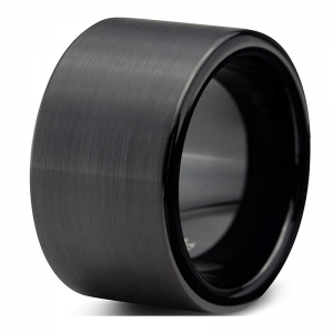 12mm Black Brushed Tungsten Carbide  with Flat Band Matte Surface