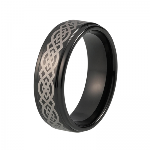 8mm Black Laser Engraved Stepped Tungsten Ring