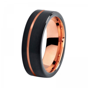 8mm Polished Black Tungsten Carbide Ring With Rose Gold Lining And Offset Groove