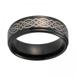 8mm Black Laser Engraved Stepped Tungsten Ring 2