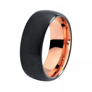 8mm brushed effect matte black tungsten ring with rose gold lining