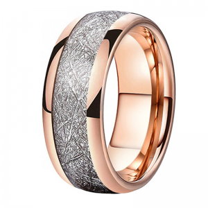 8mm Polished Domed Rose Gold Meteorite Inlaid Tungsten Carbide Ring