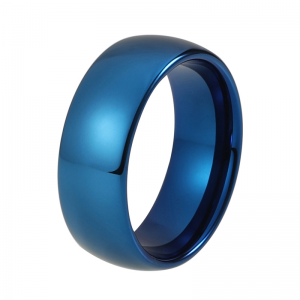 8mm Blue Domed Polished Tungsten Carbide Ring